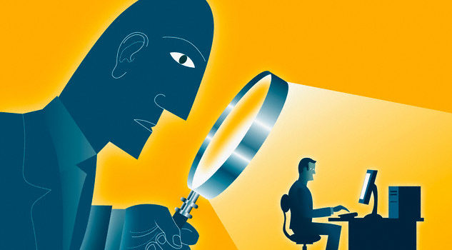 Large Man Looking At Co-Worker With A Magnifying Glass --- Image by © Images.com/Corbis